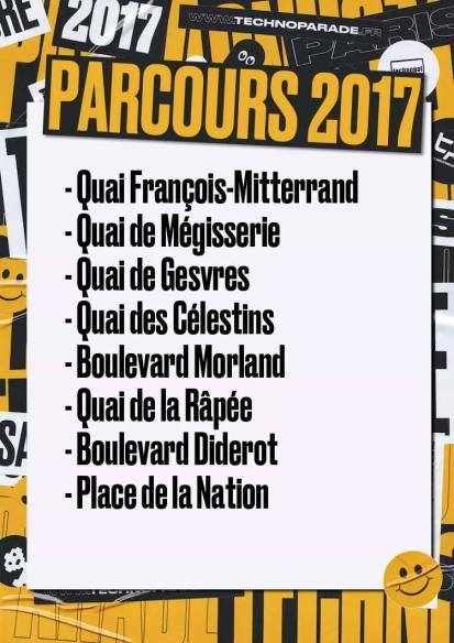 Parcours Techno Parade 2017