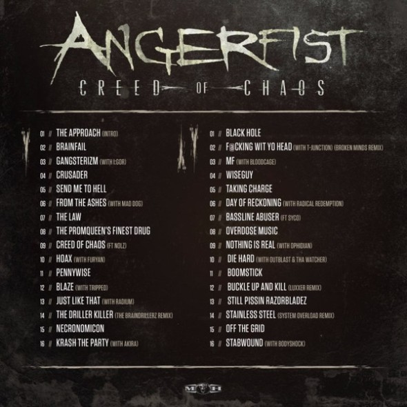 Angerfist - Creed Of Chaos - Hardcore report album tracklist - Passion BPM